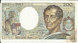 200 Frs , MONTESQUIEU , 1988  , N°C.Fayette : 70.8 - 200 F 1981-1994 ''Montesquieu''