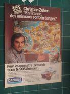 CLIP1116 : PUBLICITE DANONE AUTOCOLLANTS ANIMAUX CHRISTIAN ZUBER  , 1 Page Découpée Dans Une Revue Spirou Des Années 60/ - Stickers