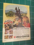 CLIP1116 : Page Publicitaire VIEW-MASTER  Découpée Dans Une Revue Spirou Des Années 60 ,  Page A4 - Publicité
