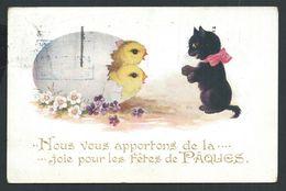 +++ CPA - Carte Fantaisie - Chat Noir - Cat Katze - Pâques - Poussin - Comique Series N° 3095 -- 1924  // - Chats