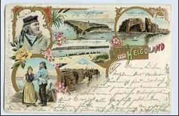 W0N37/ Gruß Aus Helgoland Schöne Litho AK  1904 Golddruck - Helgoland