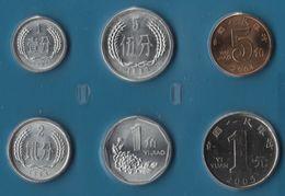 CHINA SET 6 MONNAIES 1 FEN - 1 YUAN 1984 - 2005 - China