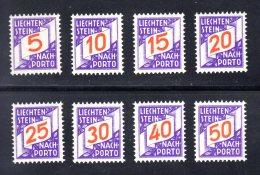 LIECHTENSTEIN - 1928 - NEUFS ** LUXE / MNH -  TAXE Série Complète Yvert #13/20  - 8 Valeurs - Taxe