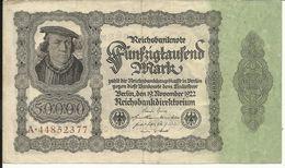 GERMANY , ALLEMAGNE , 50000 Mark , 19.11.1922 , N° World Paper Money : 79 - 50000 Mark