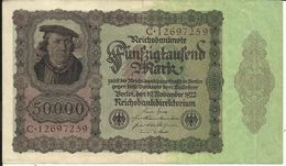 GERMANY , ALLEMAGNE , 50000 Mark , 19.11.1922 , N° World Paper Money : 80 - [ 3] 1918-1933 : Weimar Republic
