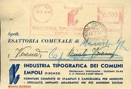 29504  ITALIA, RED METER/FREISTEMPEL/EMA/ Empoli 1941 Industria Tipografica Dei Comuni  Circuled Card - Machine Stamps (ATM)