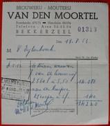 België 1953 Factuur Brouwerij - Mouterij Van Den Moortel Bekkerzeel - Alimentaire