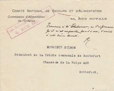 Réseau De Distributions Privé (pr échapper à La Censure) Du Comité National De Secours Et D'Alimentation/10/10/17 - Guerre 14-18