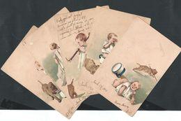 +++ CPA - LOT 5 Carte Fantaisie - Série - Enfant Bébé Baby - Chien Dog - Illustrateur ?   // - Collections, Lots & Series