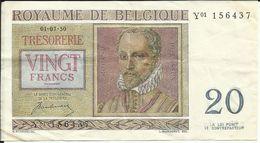 ROYAUME DE BELGIQUE , 20 Francs , 01.07.1950 , N° World Paper Money : 132 A - [ 2] 1831-... : Royaume De Belgique