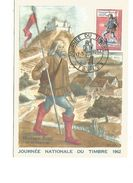 CARTE MAXIMUM 1962 JOURNEE DU TIMBRE  TOULON  VIGNETTE ERINOPHILE AU DOS - Maximumkarten