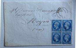 France Yv. 14 B (T.II) Bloc De Quatre (1 Exemplaire Entamé, 1 Exemplaire Fente)  Sur Lettre Cote EUR 900 (num B49T) - Postmark Collection (Covers)