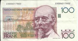 BELGIQUE , 100 Franks , N° World Paper Money : 142 A - 100 Francs