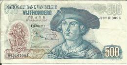 BELGIQUE , 500 Franks , Du 13.04.1971 , N° World Paper Money : 135 - [ 2] 1831-... : Royaume De Belgique