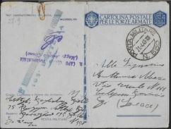 FRANCHIGIA MILITARE - CARTOLINA ( INT. 27A/9) DA PM 550(bollo1 Variante)(RODI)(p.3) 21.04.1943 - Franchise