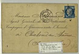 France Yv. 60 Obl Etoile 8 Rue D'Antin Sur Lettre Indice 14 (numéro Du Lot B36T) - Marcophilie (Lettres)