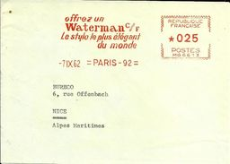 Lettre  EMA Havas MG Waterman  Stylo Bureaux Ecriture Ecole    B/1299 - EMA ( Maquina De Huellas A Franquear)