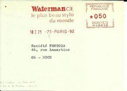 Lettre  EMA Havas MG Waterman  Stylo Bureaux Ecriture Ecole    B/1300 - EMA ( Maquina De Huellas A Franquear)