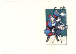 Beau Cartonné Dépliant ( Porte Menu ? ) Avec Père Noël & Femme, Neige ( Boscher 27 ? ) - Menus