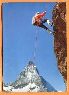 F100, Zermatt, Kletterei Am Riffelhorn, 2456, Alpiniste, Cervin, GF, Circulée 1970 Tampon Zermatt Am Matterhorn - VS Valais