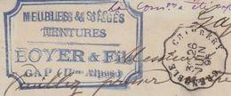 Carte Lettre Commerciale 1895 / BOYER & Fils / Meubles Tentures / 05 Gap / Hautes Alpes - Maps