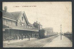 +++ CPA - MENIN - MENEN - Intérieur De La Gare - Statie - Train Trein   // - Menen