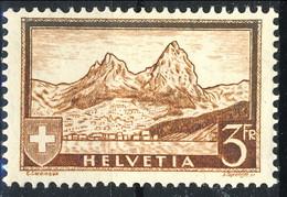Svizzera 1930-31 Serie N. 244 F. 3 Bruno Giallo. Veduta MVLH Cat. € 85 - Svizzera