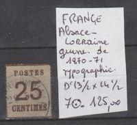 TIMBRES DE FRANCE  OBLITEREES ALSACE-LORRAINE   NR  7 TYPOGRAPHIE 1870-71 Cote125€ - Alsace-Lorraine
