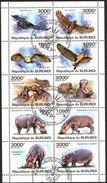 (BU07) Burundi 2011 Hippopotamus Birds Owls Sheet Used / CTO - Burundi