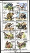 {BU08} Burundi 2011 Dinosaurs Elephants Birds Owls Sheet Used / CTO - Burundi