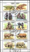 (BU09) Burundi 2011 Dinosaurs Monkeys Rhinoceros Sheet Used / CTO - Burundi