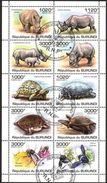 (BU10) Burundi 2011 Turtles Honey Bees Rhinoceros Sheet Used / CTO - Burundi