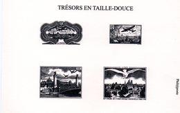 FRANCE - Taille Douce: Tirage Spécial Sur Carton Des Timbres PA N° 8,15, 20, 28  (TRESOR DE LA PHILATELIE) - Documents Of Postal Services