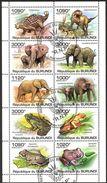 {BU11} Burundi 2011 Dinosaurs Elephants Frogs Sheet Used / CTO - Burundi