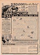 Publicité 1936 / Grand Concours De La Vache Qui Rit / Voiture Peugeot 402 Et 301 à Gagner / Rébus - Advertising