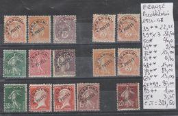 TIMBRES DE FRANCE PREOBLITEREES NEUF ** /*   NR  Voir Sur Papier Avec Timbres 1922-47  Cote 321.50€ - Préoblitérés