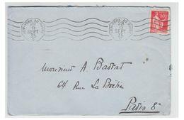 """FRANCE -- LE NORMANDIE -- LETTRE DE 1935 -- OBLITERATION MECANIQUE """" NEW-YORK AU HAVRE C """" - Marcophilie (Lettres)"""