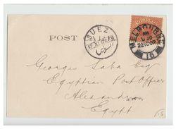 AUSTRALIE -- MELBOURNE -- CARTE POSTALE A DESTINATION D'ALEXANDRIE (EGYPTE) TRANSIT SUEZ -- TTB - 1850-1912 Victoria