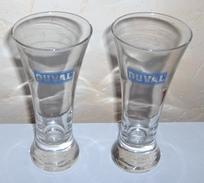 DEUX VERRES A PIED FORME CONIQUE PASTIS DUVAL - Glasses