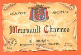 Etiquette Vin De Bourgogne Meursault Charmes C Michelot à Meursault - 75 Cl - Bourgogne