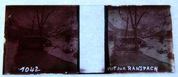 PHOTO STEREO SUR PLAQUE DE VERRE - VUE SUR RANSPACH - PONT - HIVER - 10,6 X 4,4 Cm - Photos Stéréoscopiques