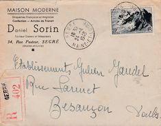 Lettre Recommandée Commerciale / 1949 /  Daniel SORIN / Confection / 49 Segré / Maine Et Loire - Maps