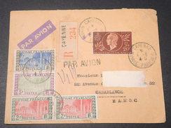 GUYANE - Enveloppe En Recommandé De Cayenne Pour Casablanca En 1945 Avec étiquette Pour La Douane Au Verso - L 11462 - Guyane Française (1886-1949)