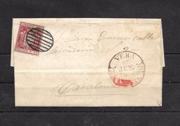 España. Carta Con Sello De 6 Ctos Matasello Parrilla Negra Y Fechador VERA (MURCIA) - 1850-68 Kingdom: Isabella II