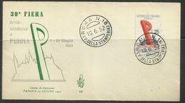 ITALIA REPUBBLICA ITALY REPUBLIC 1952 FIERA DI PADOVA FAIR FDC VENETIA - 6. 1946-.. Repubblica