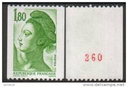 France N° 2378a Neuf **   Roulette Avec N° Rouge (type A) Liberté De Delacroix 1.80 Vert - Rollen