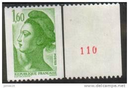 France N° 2222 A**neuf  Roulette Avec N° Rouge Liberté De Delacroix 1.60 Vert - Rollen