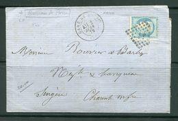 Lettre De 1872 De GARE DE MACON à Destination De SURGERES 16- Timbre Y&T N°60A- Ambulant LP (divers Cachets Au Dos) - 1871-1875 Ceres