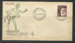 ITALIA REPUBBLICA ITALY REPUBLIC 1952 VINCENZO GEMITO FDC VENETIA - 6. 1946-.. Repubblica