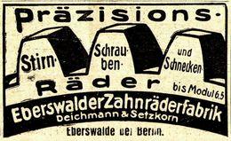 Original-Werbung/ Anzeige 1924 - EBERSWALDER ZAHNRÄDERFABRIK DEICHMANN & SETZKORN  - EBERSWALDE - Ca. 60 X 45 Mm - Publicités